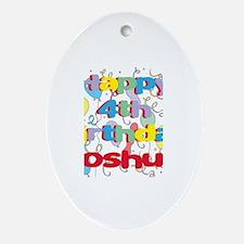 Joshua's 4th Birthday Oval Ornament