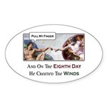 Creation of Man - 8th Day Oval Sticker