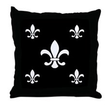 White on Black Fleur de Lis Throw Pillow