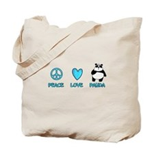 peace, love, panda Tote Bag