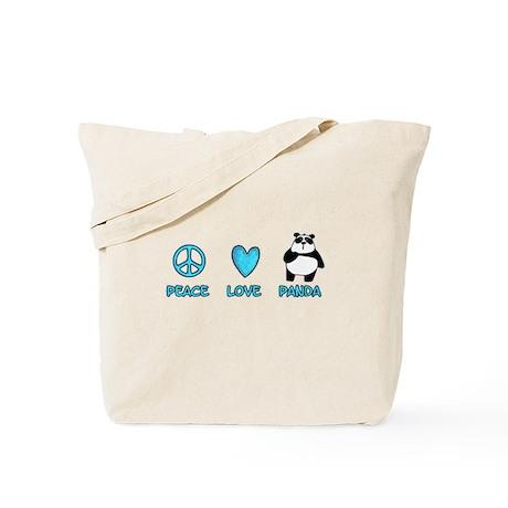 peace, love, panda Tote Bag