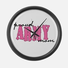 Funny Proud army mom tags Large Wall Clock