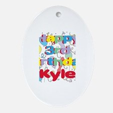Kyle's 3rd Birthday Oval Ornament