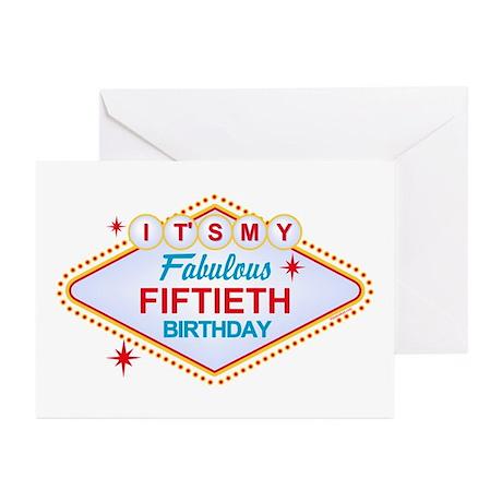 Las Vegas Birthday 50 Greeting Cards (Pk of 10)