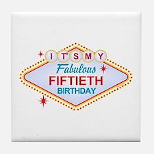 Las Vegas Birthday 50 Tile Coaster