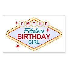 Las Vegas Birthday Girl Rectangle Decal