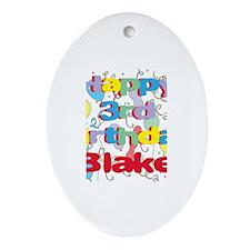 Blake's 3rd Birthday Oval Ornament