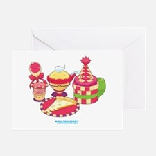 Kawaii Red Pizza Party Greeting Card