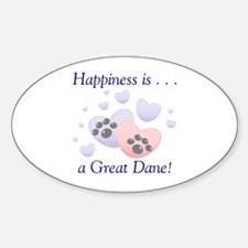Happiness is...a Great Dane Oval Decal