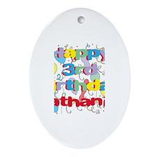 Nathaniel's 3rd Birthday Oval Ornament