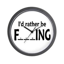 I'D RATHER BE FishING - Wall Clock