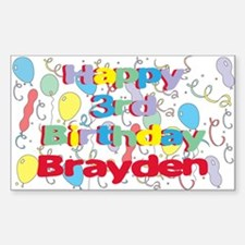 Brayden's 3rd Birthday Rectangle Decal