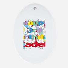 Caden's 3rd Birthday Oval Ornament