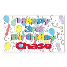 Chase's 3rd Birthday Rectangle Decal