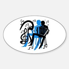 Accordion Player Oval Decal