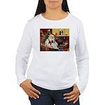 Santa & His Brittany Women's Long Sleeve T-Shirt