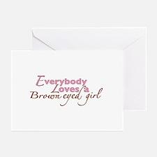Brown Eyed Girl Greeting Cards (Pk of 20)