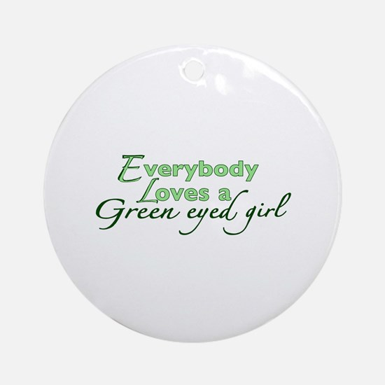 Green Eyed Girl Ornament (Round)