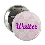 Waiter Pink Hearts Button