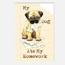 Pug Ate Homework Postcards (Package of 8)