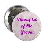 Therapist of the Groom Pink Hearts Button