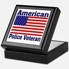 American Police Veterans Patriotic Flag Tile Box