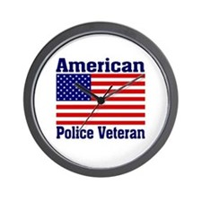 American Police Veterans Patriotic Flag Wall Clock