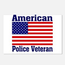 American Police Veterans Patriotic Flag Postcards