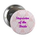 Stepsister of the Bride Pink Hearts Button