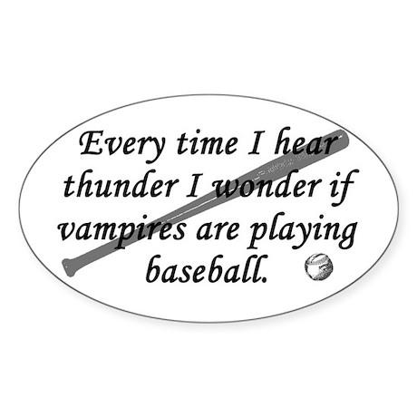 Baseball Vampires Oval Sticker