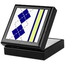 Blue & Yellow Argyle with Stripe Keepsake Box