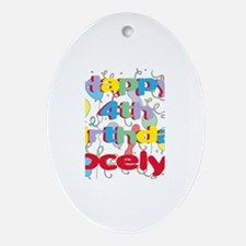 Jocelyn's is four years old Oval Ornament