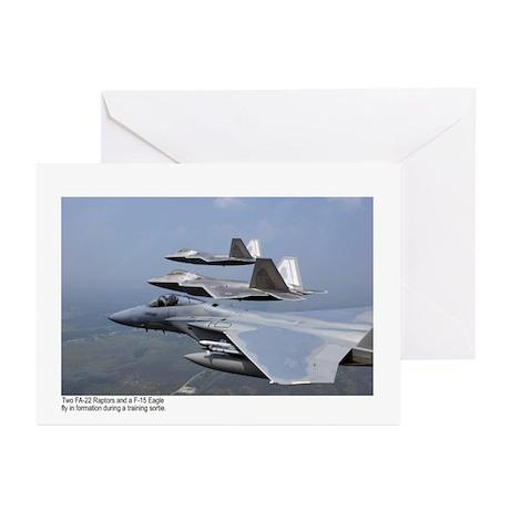 F-22 Raptor F-15 Eagle Greeting Cards (Pk of 10)