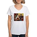 Santa's Dachshund (Br) Women's V-Neck T-Shirt