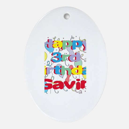 Gavin's 3rd Birthday Oval Ornament