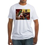 Santa/Two Dachshunds (BB) Fitted T-Shirt