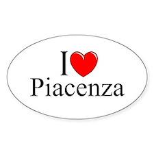 """I Love (Heart) Piacenza"" Oval Decal"