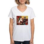Santa's 2 Doxies (blk) Women's V-Neck T-Shirt