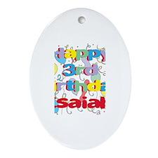 Isaiah's 3rd Birthday Oval Ornament