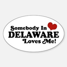 Somebody in Delaware Loves me Oval Decal