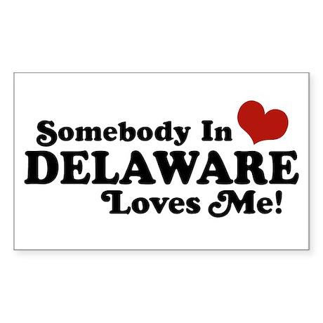 Somebody in Delaware Loves me Rectangle Sticker