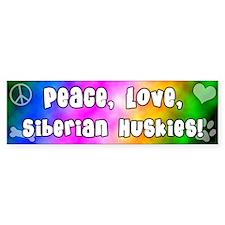 Hippie Siberian Husky Bumper Bumper Sticker