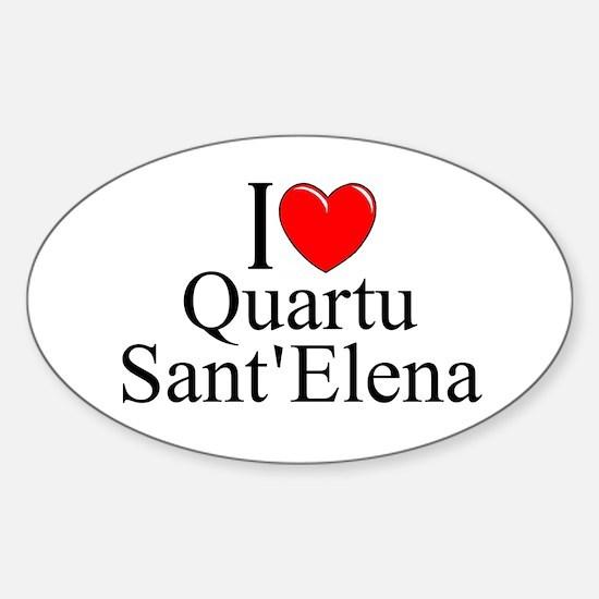 """I Love (Heart) Quartu Sant'Elena"" Oval Decal"