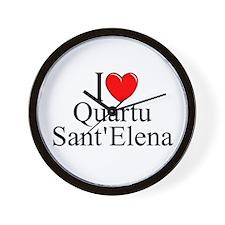 """""""I Love (Heart) Quartu Sant'Elena"""" Wall Clock"""