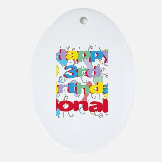 Jonah's 3rd Birthday Oval Ornament