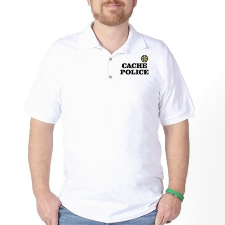 CachePolice-T-shirt-w-text black Golf Shirt