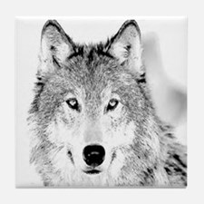 Great White Wolf Tile Coaster