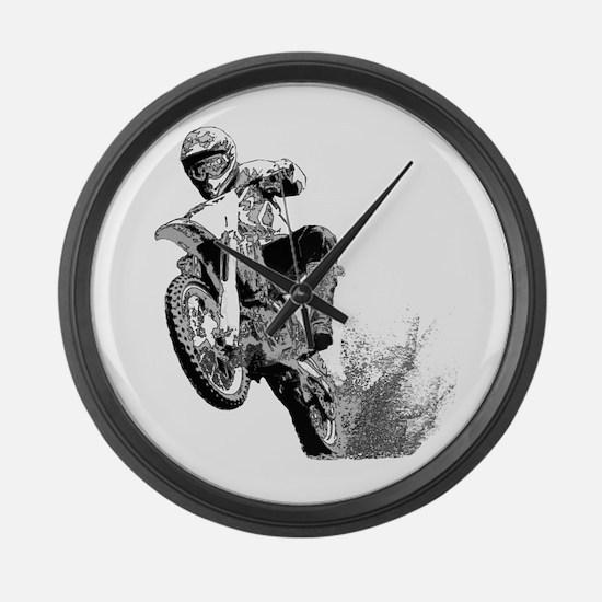Dirtbike Wheeling in Mud Large Wall Clock