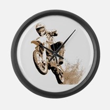 Dirt bike wheeling in mud Large Wall Clock