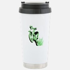 Green Dirtbike Wheeling in Mud Travel Mug